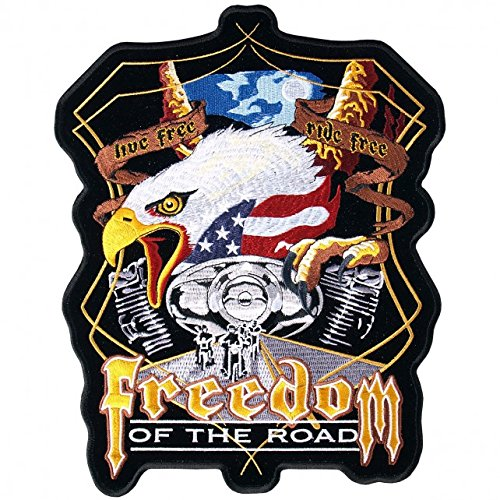 Eagle 5 Embroidery (Hot Leathers, FREEDOM OF THE ROAD EAGLE AND V-TWIN, High Thread Embroidered Iron-On / Saw-On Rayon BIKER PATCH - 5
