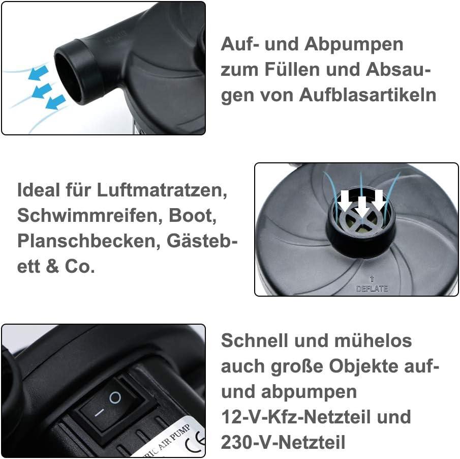 LandJoy Bomba el/éctrica para inflables para colch/ón de aire para acampar Bomba de desinflado inflado AC 230V Inflador de inflado de llenado r/ápido con 3 boquillas