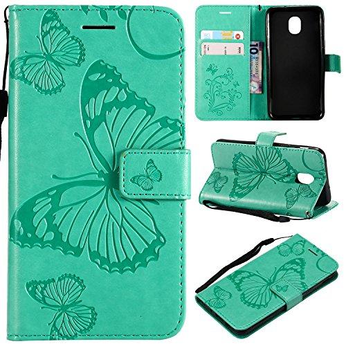 Ropigo Emboss 3D Butterfly Wallet Case for Samsung Galaxy J3 2018/ J3 Orbit/ J3 Emerge (2018)/ J3V (3rd Gen)/ Express Prime 3/ J3 Star/J3 Achieve Flip Leather Protective Case Wrist Strap Mint Green