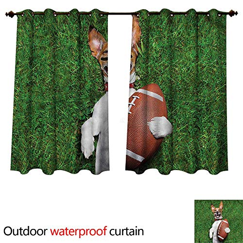 cobeDecor Sports Outdoor Curtains for Patio Sheer Dog Holding a Rugby Ball W120 x L72(305cm x 183cm)