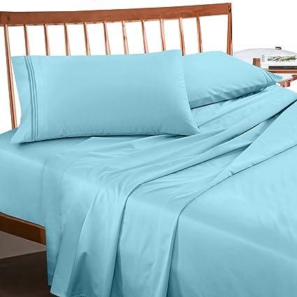 Amazon Com Premium Queen Size Sheets Set Light Baby Blue Hotel