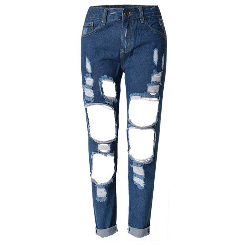 Dark bluee Fashion Ripped Jeans Casual Washed Holes Boyfriend Jeans for Women Regular Long Torn Jeans Denim Pants