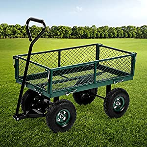 Garden Cart Wagons Heavy Duty Steel Utility Cart Steel Frame Cart with Pneumatic Tires,400LBS Weight Capacity Outdoor…