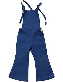 c22da548943 Baby Girls Little Kids Suspender Overall Flared Denim Jeans Jumpsuit Bell  Elastic Blue Pants