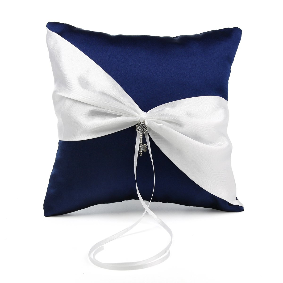 OnePlace Gifts Exclusive Navy Blue Satin Charms Wedding Ring Pillow Bearer 7.8'' (Key to Joined Hearts)