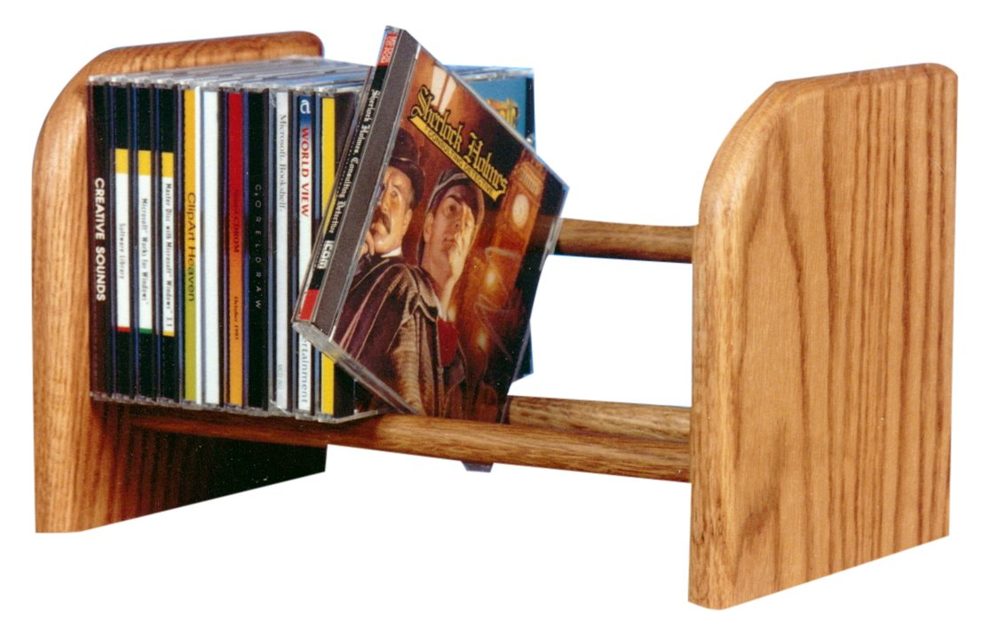 Wood Shed The 104 D Solid Oak CD Rack, Dark by Wood Shed