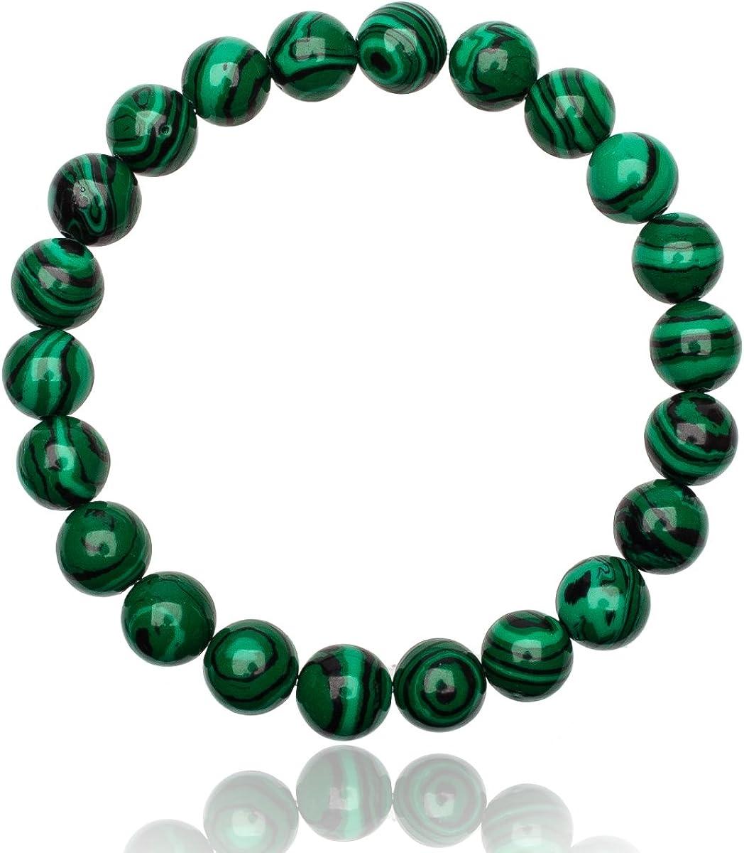 Unique pulsera de perlas malaquita verde 8mm grado AAA unisex elástico One Size Fits All 16cm a 19cm