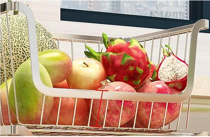 Ping Bu Qing Yun Carro de estantería, estanterías for frutas, móvil de acero inoxidable, conveniente sala de estar de gran capacidad, frutería, cesta de frutas y verduras, 29X34X63CM Carrito Utilitari: Amazon.es: Hogar