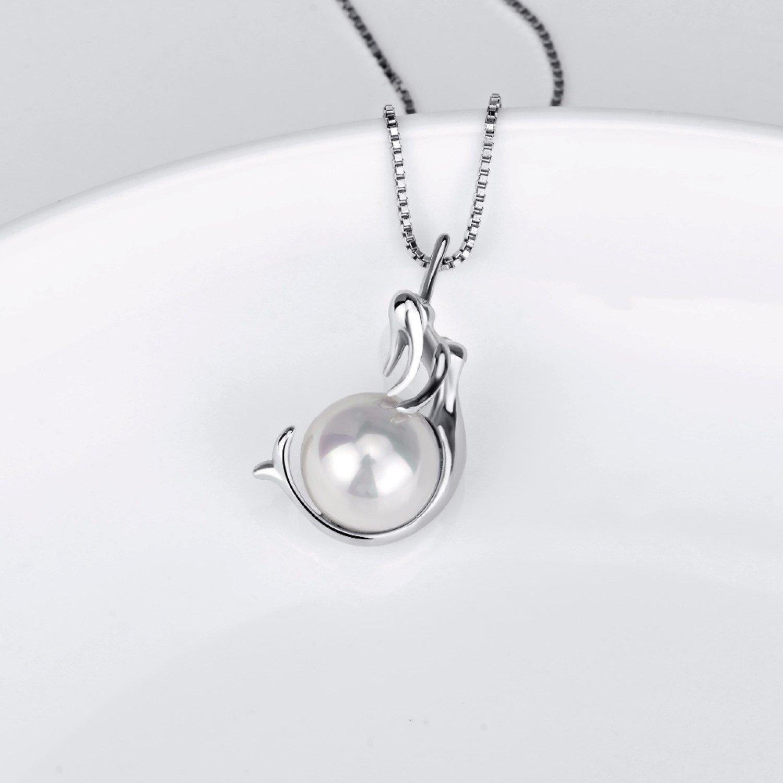CS-DB Mermaid Sea Shell Pearl Pendants Silver Luxury Necklaces