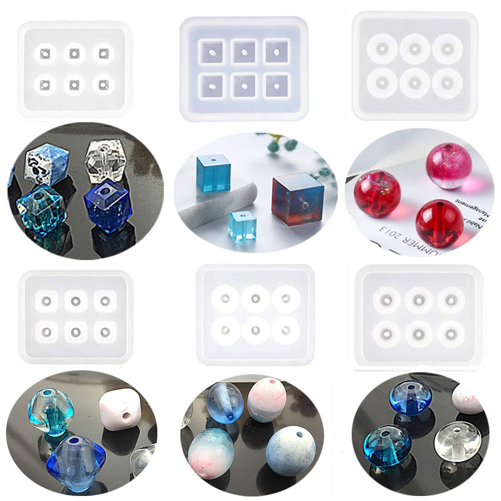 Funshowcase Beads Resin Molds with Hole for Gemstone Cabochon Jewelry Casting 12-Count