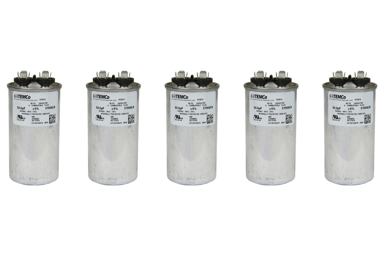 TEMCo 5 LOT Motor Run Capacitor RC0030-50 mfd 370 V VAC volt 50 uf Round HVAC TEMCo AC Electric