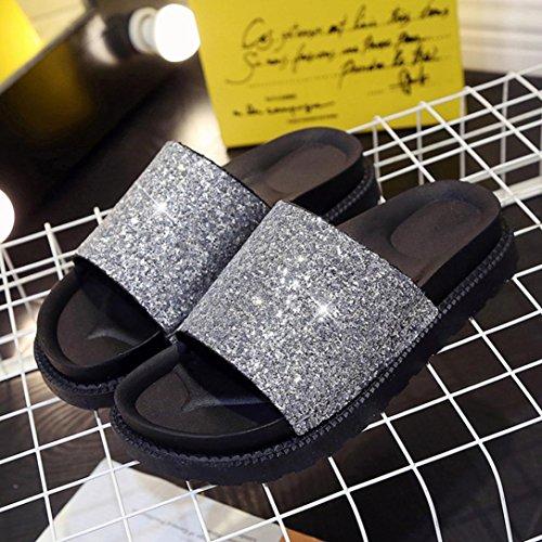 Culater Chanclas mujer plataforma plano gruesa Sandalias de verano zapatillas de interior al aire libre zapatos Plateado