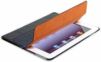 StilGut Couverture, custodia in vera pelle per il Apple iPad 2 con funzione di supporto e smart cover, nero, pelle liscia