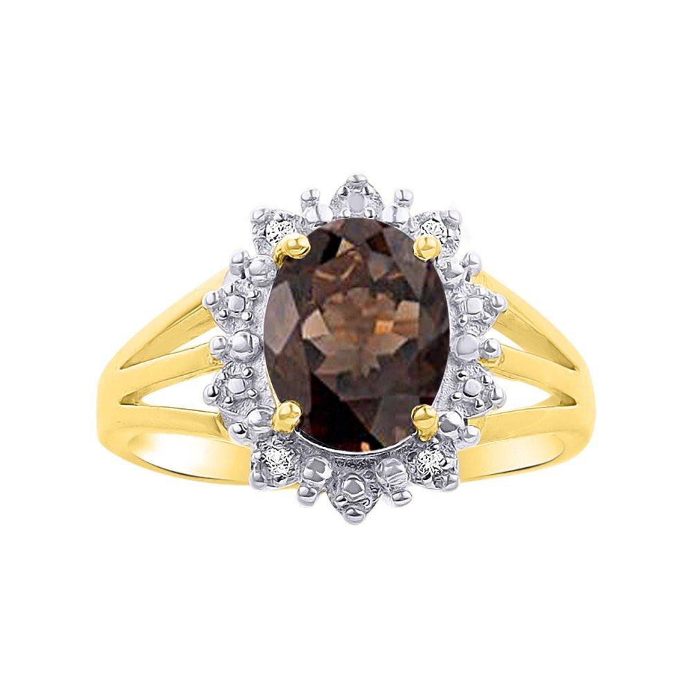Princess Diana Inspired Halo Diamond & Smoky Quartz Ring Set In 14K Yellow Gold
