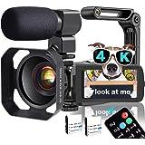 Video Camera, TLPUHU 4K Camcorder WiFi Ultra HD 48MP YouTube Camera for Vlogging, 3.1'' IPS Screen 18X Digital Zoom…