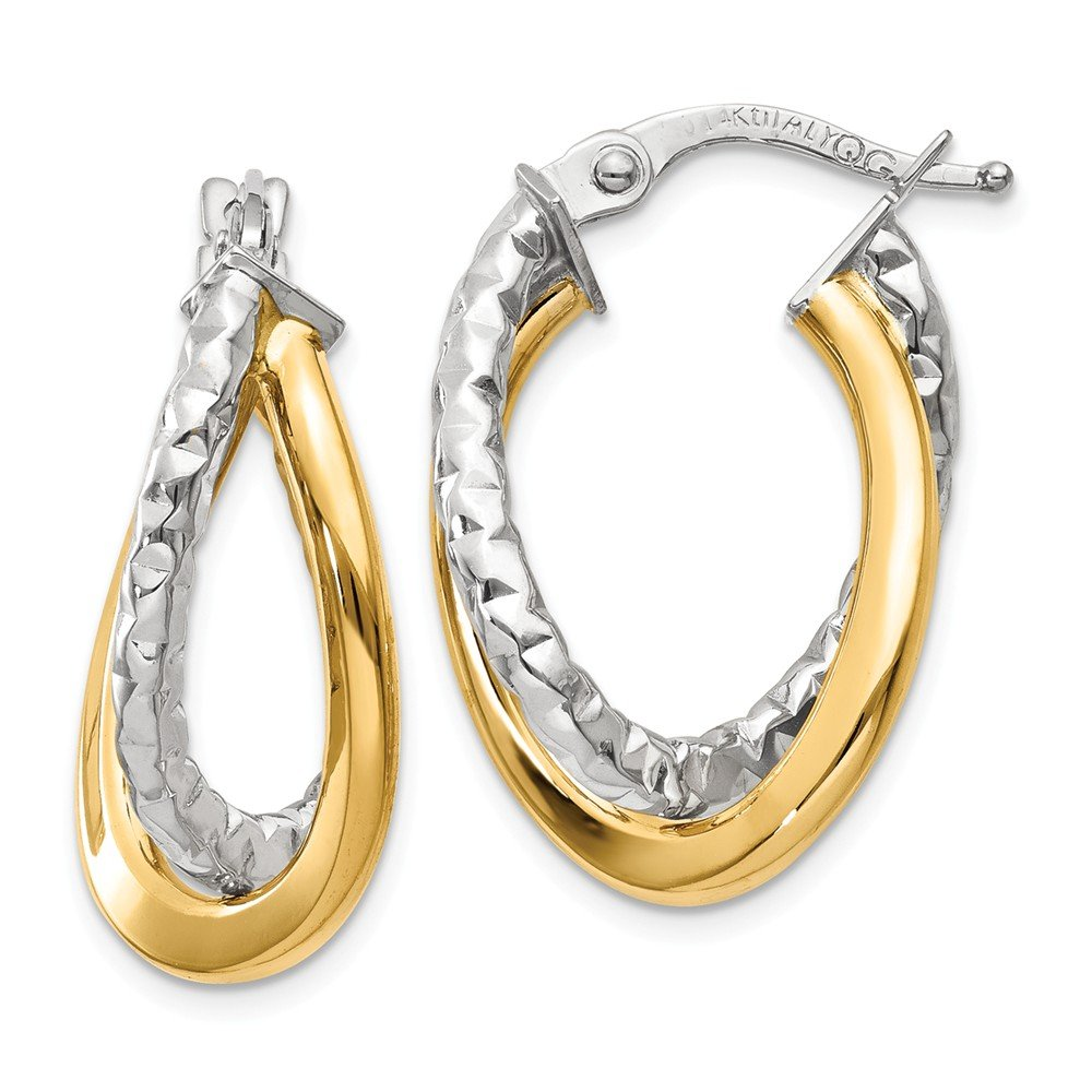 Mia Diamonds 14k Gold Two-tone Polished//Textured Post Hoop Earring