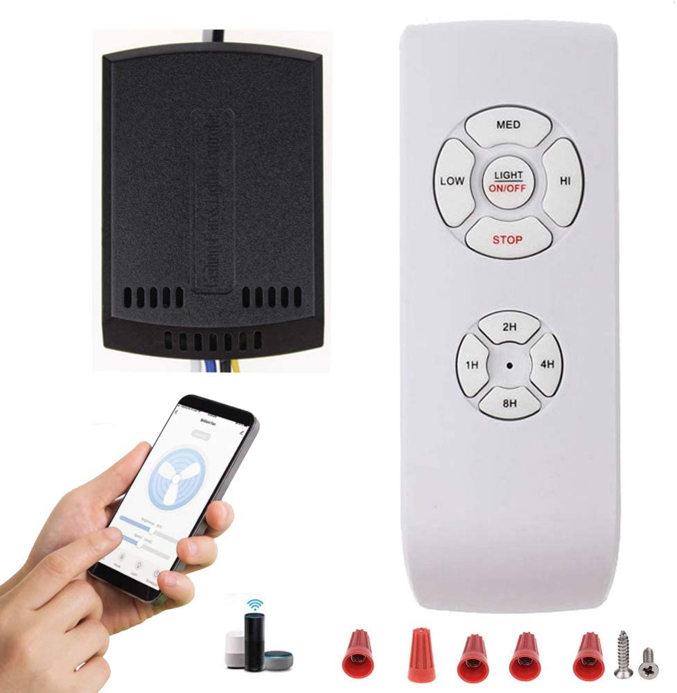 WiFi Fan Controller, Upgraded Version Smart WiFi Ceiling Fan and Light Remote Control Kit, Ceiling Fan Controller Compatible with Alexa Google, Phone APP Control, Universal Ceiling Fan Light Remote