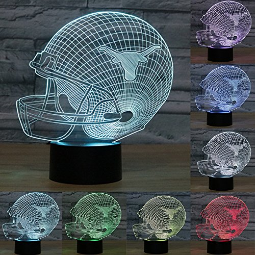 Football Cap Team Logo 3D Lamp Table NightLight 7 Color Change Football LED Desk Light Touch Multicolored USB Power As Home Decoration Lights Tractor for Boys Kids (Touch) (Texas Longhorns)