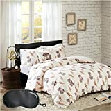 HipStyle Cayler Animal Print 4-Piece FULL/QUEEN Size Duvet Cover Set with Accent Decorative Pillow, Made of 100% Cotton with Sleep Mask