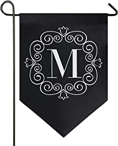 Oarencol Classic Monogram M Letter Garden Flag Double Sided Home Yard Decor Banner Outdoor 12.5 x 18 Inch
