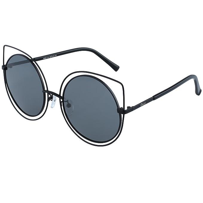 Gafas de sol redondas polarizadas DUCO Cateye estilo de alta puntiaguda moda rimmed gafas geométricas gafas