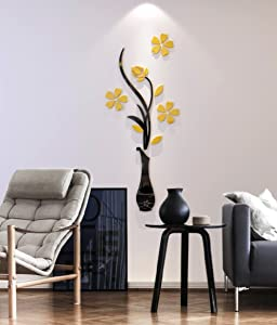 3d Vase Wall Murals for Living Room Bedroom Sofa Backdrop Tv Wall Background, Originality Stickers Gift, DIY Wall Decal Wall Decor Wall Decorations (Yellow, 39 X 16 inches)