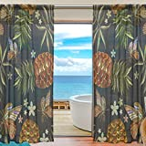 SEULIFE Window Sheer Curtain, Tropical Leaves Pineapple Butterfly Voile Curtain Drapes for Door Kitchen Living Room Bedroom 55x84 inches 2 Panels