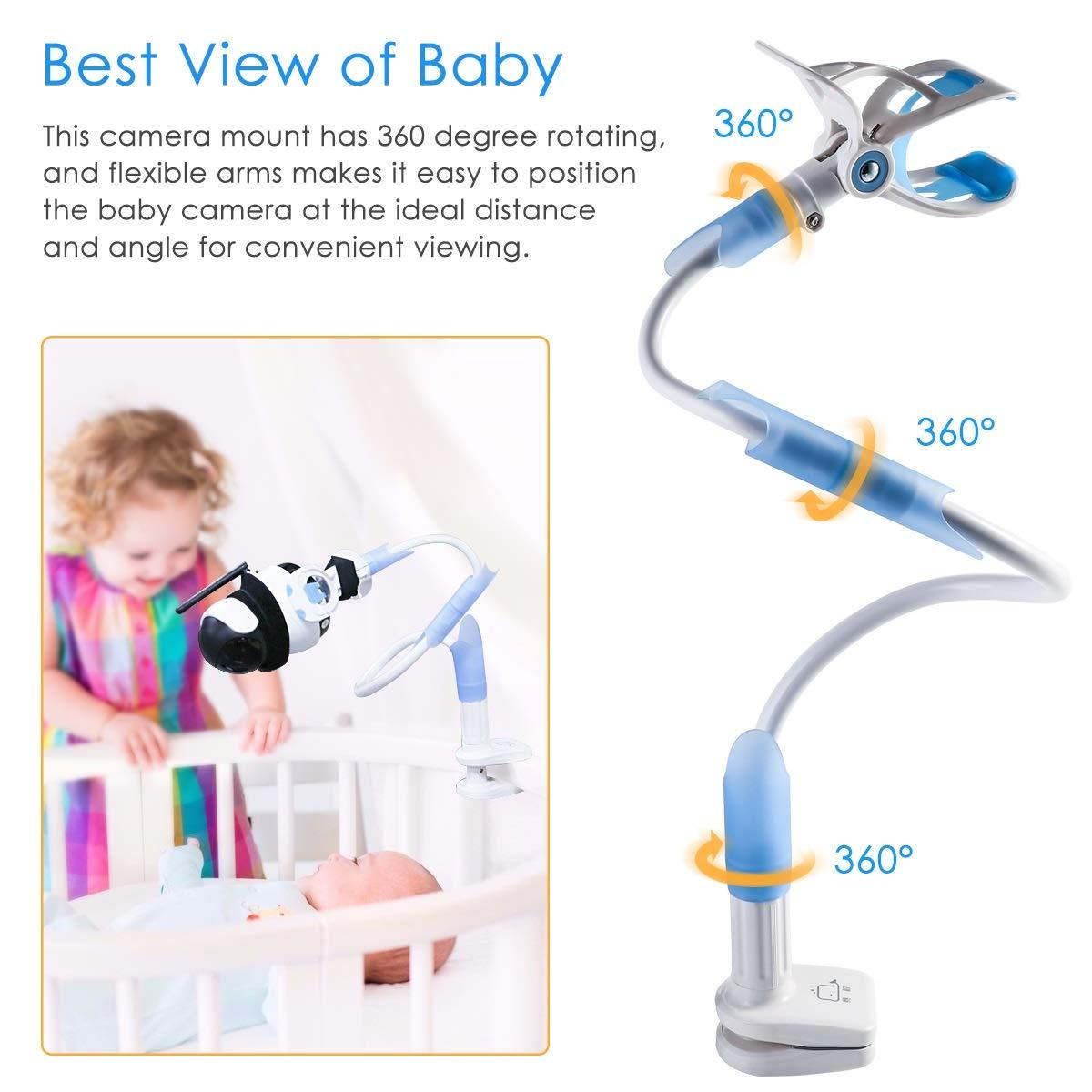 Wallfire Baby-Monitorhalterung Baby-Kamerahalterung 360 /° Rotation biegsamer Schwanenhals-Tischhalterung f/ür die meisten Babyphone