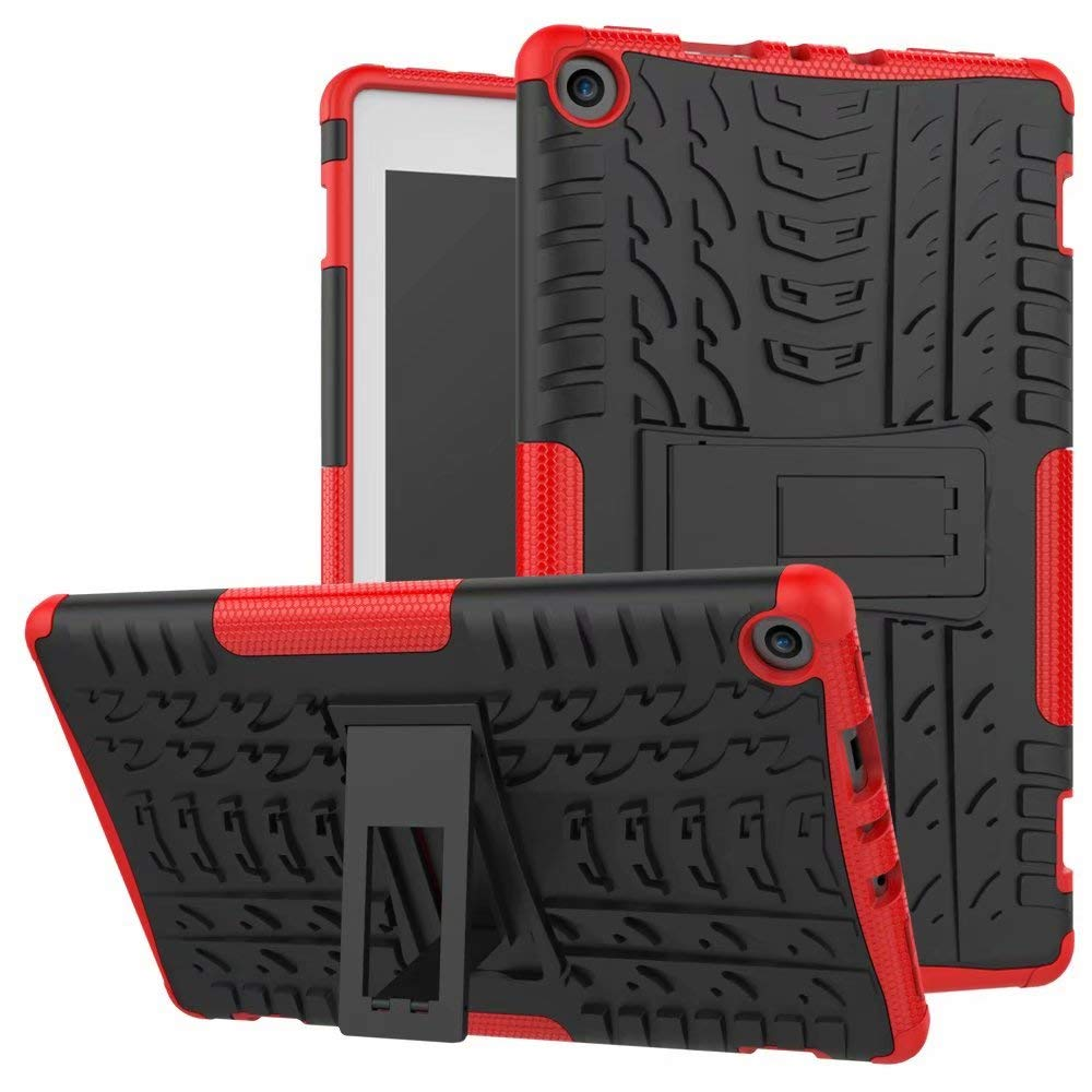 Zhusha Mobile Phone case, Dual Layer Hybrid Armor Kickstand 2 in 1 Shockproof Cover for  Fire HD 8 Tablet (7th and 8th Generation, 2017 and 2018 Release) (Color : Orange)