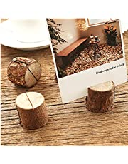 Mofeng Pack of 10, Rustic Real Wood Base Wedding Table Name Number Place Card Holders Stand Picture Memo Holder Photo Clip Price Tag for Party Office Home Decoration