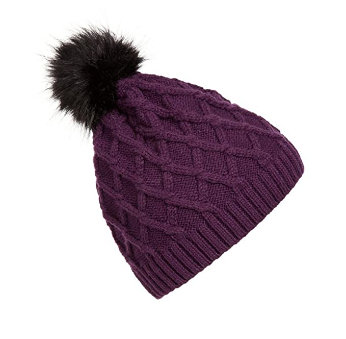 Tongshi Mujeres caliente invierno piel tejido lana Crochet Ski Cap gorro  (Púrpura) 08db1b2f9994