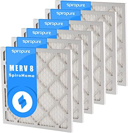 Made in USA 6 Pack SpiroPure 13.50X13.5X1 MERV 8 Pleated Air Filters