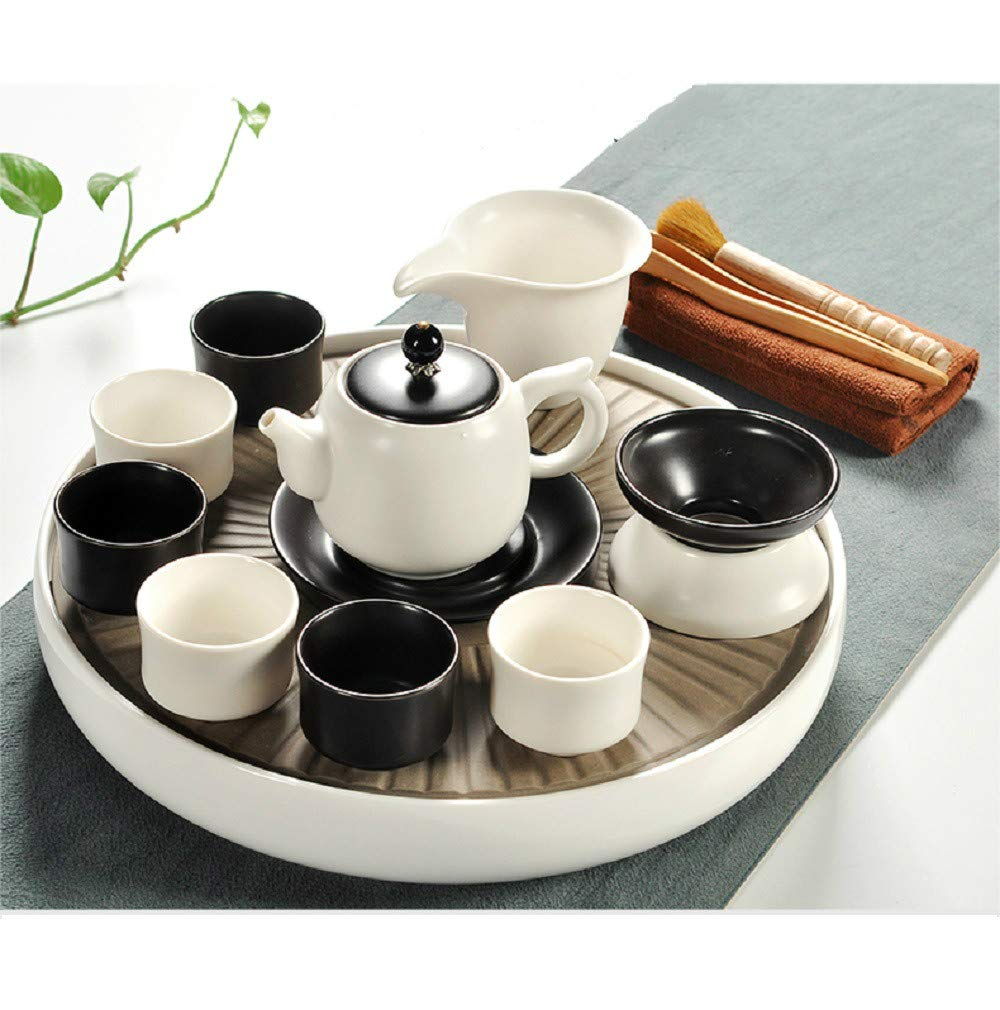Chuangrong Vintage Chinese & Japanese Style Porcelain Handmade White and Black Kung Fu Tea Set, 13-Pack