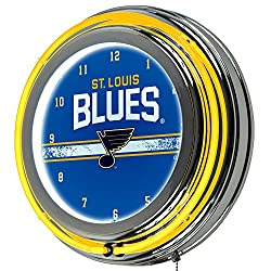 Trademark Gameroom NHL St. Louis Blues Chrome Double Rung Neon Clock