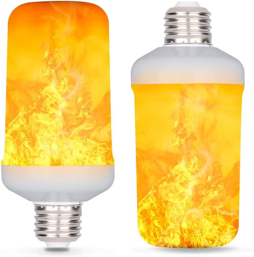 2 Packs LED Flame Light Bulbs Yellow 4 Modes Fire Flickering Smart Light Bulb for Halloween Pumpkin Lantern Christmas Home Hotel Bar Party Decor AmmToo E27 Realistic Flame Effect Light Bulbs
