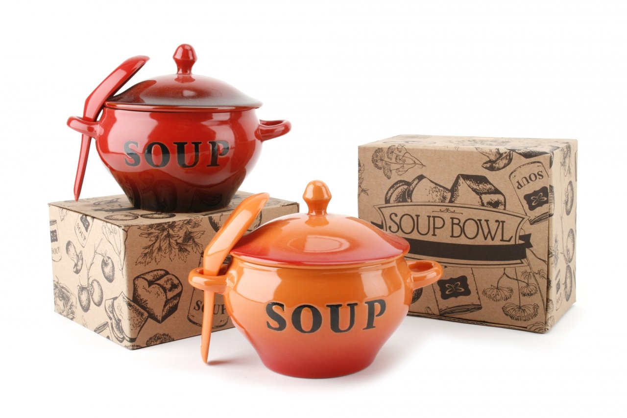 Favorite SOUP BOWL WITH LID AND SPOON (HOT RED): Amazon.co.uk: Kitchen & Home FU62