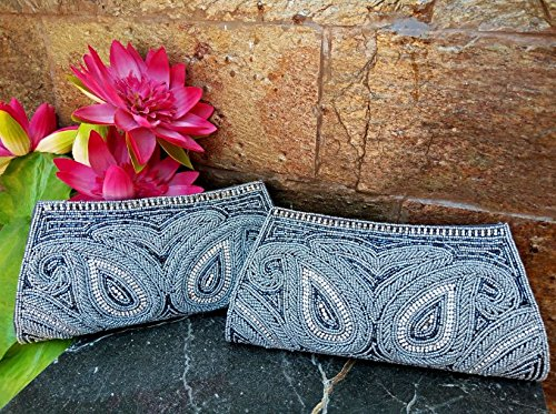 Grey Beaded clutch, Set of 2 bridesmaid bags, Classy Minaudière, hand crafted Diamante box clutch, Portefeuille Femmes, silver grey evening clutch, Bridal clutch