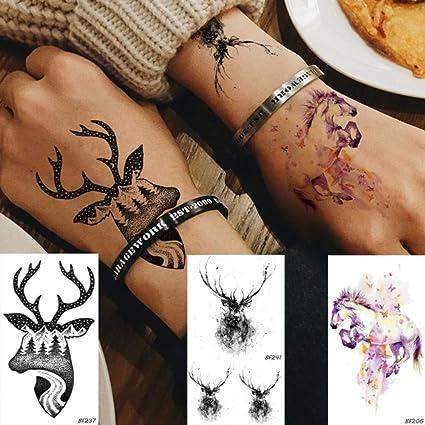 anzihuanxi Pegatina Temporal Elk Bosque Tatuaje Tatuajes Falsos ...