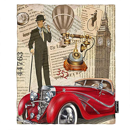 Moslion Poster Throw Blanket Vintage London Big Ben Telephone Red Car Newspaper Hot Air Balloon Blanket Home Decorative Flannel Warm Travel Blankets 5060 Inch for Couch -