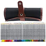 Niutop 48 Assorted Color Marco Raffine Drawing Art Colored Pencils Supplies with Roll UP Washable Canvas Pencil Bag Pouch Wrap Set for Artist Sketch, 2 Direction Buckle for Different Usage (48-Color)