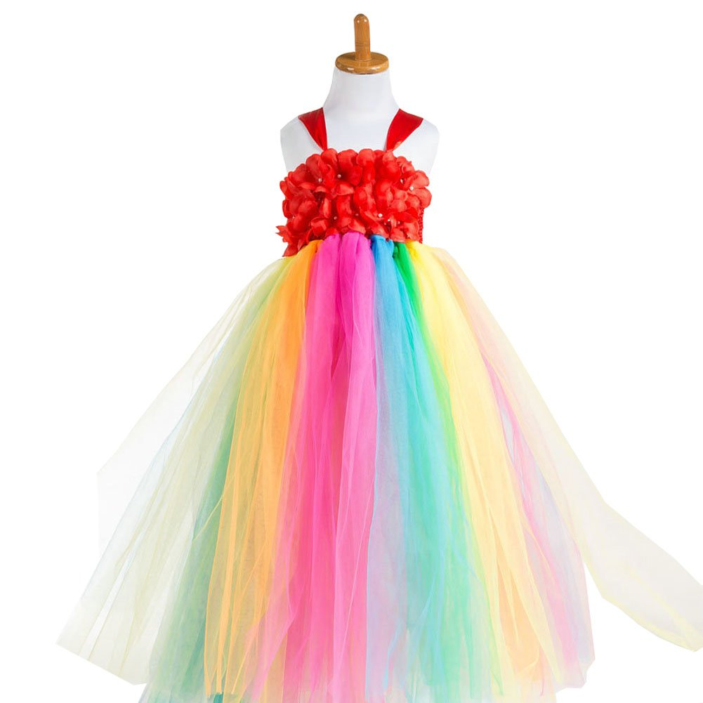 Amazon.com: obtai Flower Girl Rainbow Tulle Dress Ball Gowns Layered Tiered Ruffle Bubble Skirt: Clothing