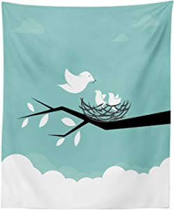 "Lunarable Birds Tapestry, Mother Animal Feeding Her Babies with Worms Nature Illustration, Fabric Wall Hanging Decor for Bedroom Living Room Dorm, 23"" X 28"", Seafoam White and Charcoal Grey"