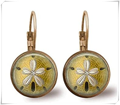 4233b43fff6d Pendientes Dólar de arena pendientes mar vida joyería arena Dólar joyería  latón earringspicture collar
