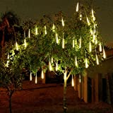 Alion Home LED Meteor Shower Waterproof Rain SMD Tubes Lights for Outdoor, Garden, Tree Decor (50 Tubes 50 FT, Warm White)