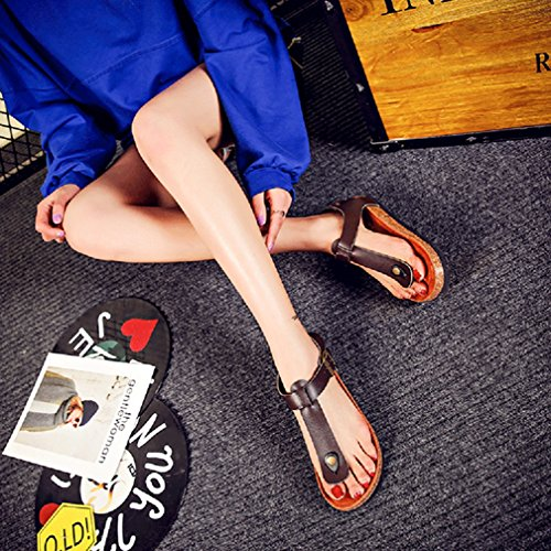 Cheville La De Marron Sandales Plates Hommes Femmes Tongs Avec Cork À Chaussures Confort Plage Dragonne 7R6nO6q