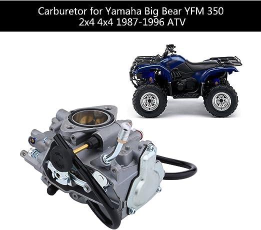 Qiilu ATV Carburateur Carb pour Yamaha Big Bear YFM 350 2x4 4x4 1987-1996