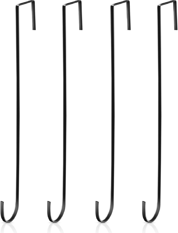15 Pulgadas Ganchos Colgadores Corona Navideña Ganchos Negros Puerta Metal Perchas Prácticas Toallas Ropas para Decoración Puerta Entrada Navidad (Negro, 4 Piezas)