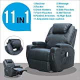UEnjoy Black Swivel Chair Massage Recliner Chair Leather Electric Heating