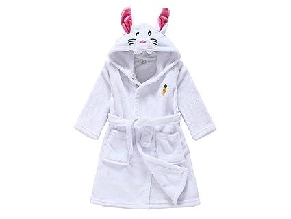 Blueqier Toalla de casa Albornoz de Conejo de Dibujos Animados de los niños Albornoz Pijamas de