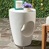 Safavieh Outdoor Collection Aishi Modern Concrete Ivory Round 17.7-inch Accent Table